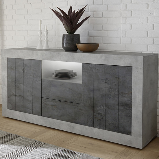 Nitro LED 2 Door 2 Drawer Cement Effect Sideboard In Oxide
