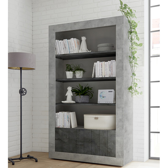 Nitro 2 Doors 3 Shelves Bookcase In Cement Effect And Oxide