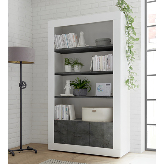 Nitro 2 Doors 3 Shelves Bookcase In White Gloss And Oxide