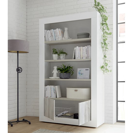 Nitro 2 Doors 3 Shelves Bookcase In White Gloss And White Pine_2