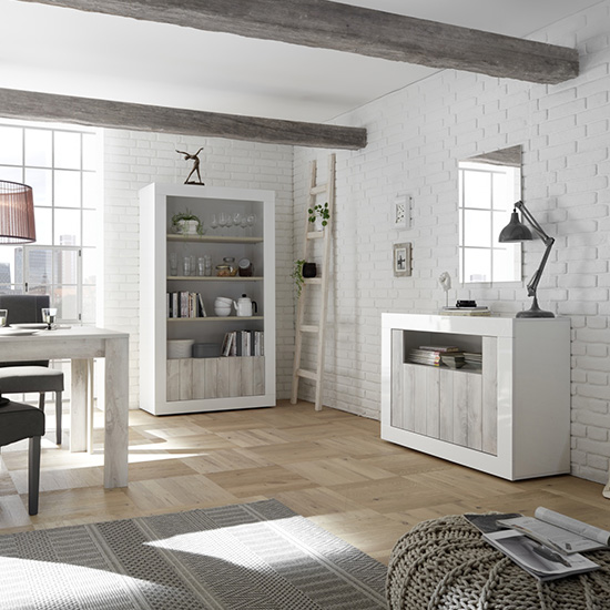 Nitro 2 Doors 3 Shelves Bookcase In White Gloss And White Pine_3
