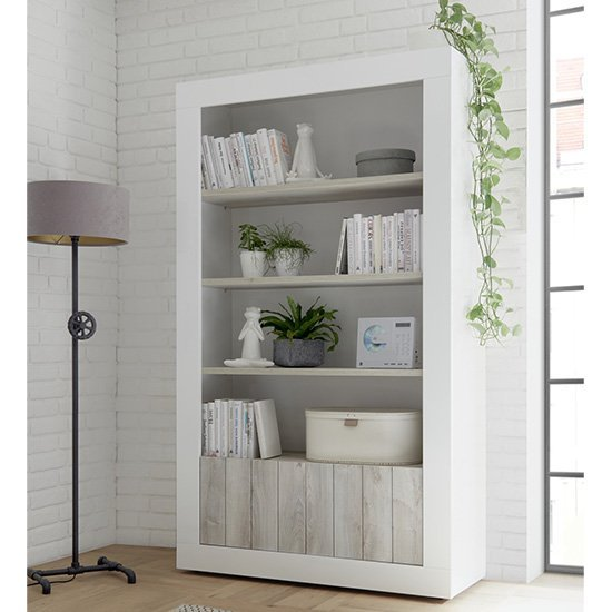 Nitro 2 Doors 3 Shelves Bookcase In White Gloss And White Pine_1