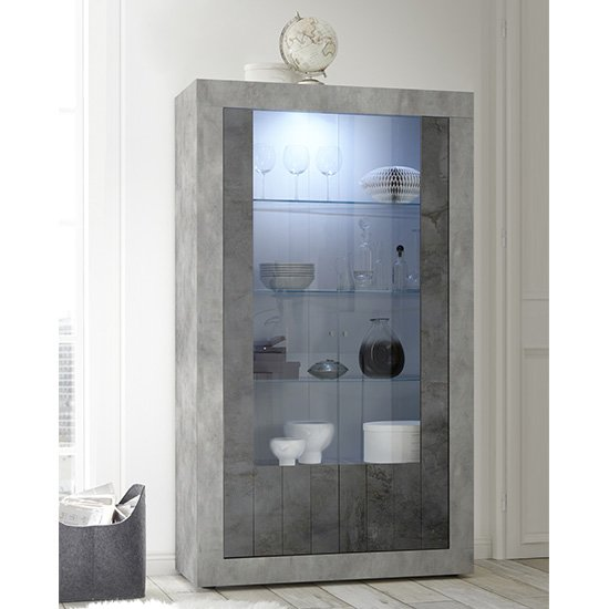 Nitro 2 Doors LED Display Cabinet In Cement Effect And Oxide