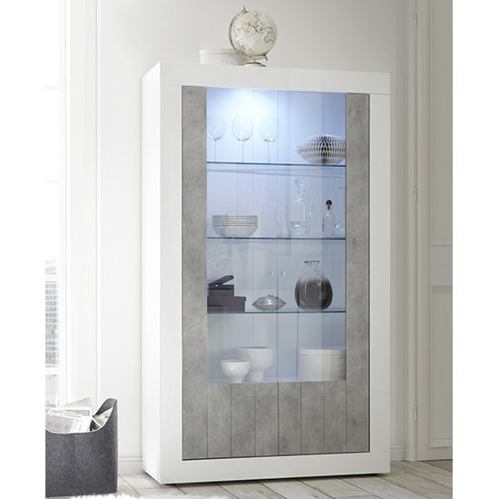 Nitro 2 Doors LED Display Cabinet In White Gloss And Cement