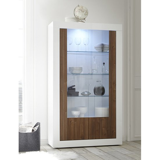 Nitro 2 Doors LED Display Cabinet In White Gloss And Dark Walnut
