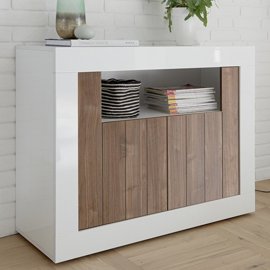 Nitro 2 Doors Wooden Sideboard In White Gloss And Dark Walnut