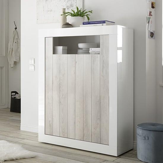 View Nitro 2 doors wooden storage unit in white gloss and white pine