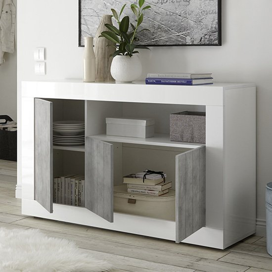 Nitro 3 Door Wooden Sideboard In White Gloss And Cement Effect_2