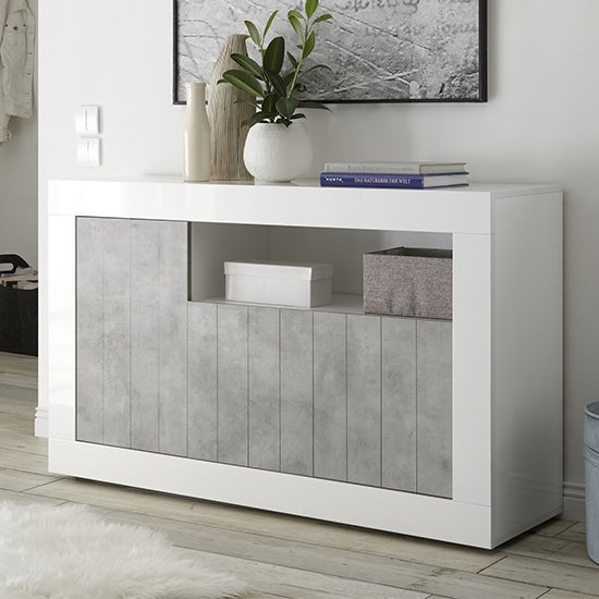 Nitro 3 Door Wooden Sideboard In White Gloss And Cement Effect_1