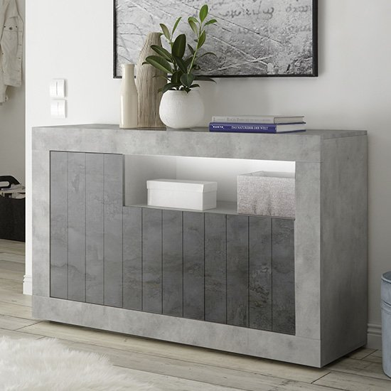 Nitro LED 3 Doors Wooden Sideboard In Cement Effect And Oxide