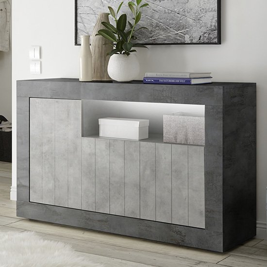 Nitro LED 3 Doors Wooden Sideboard In Oxide And Cement Effect
