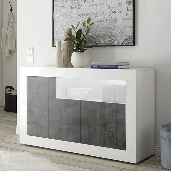 Nitro LED 3 Doors Wooden Sideboard In White Gloss And Oxide