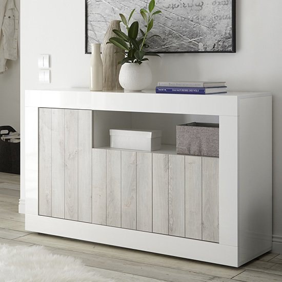 Nitro 3 Doors Wooden Sideboard In White Gloss And White Pine