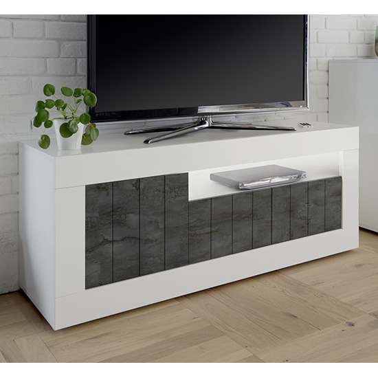 Nitro LED 3 Doors Wooden TV Stand In White Gloss And Oxide_2
