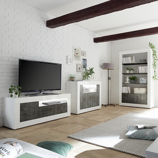 Nitro LED 3 Doors Wooden TV Stand In White Gloss And Oxide_3