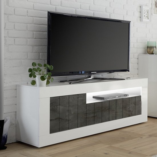 Nitro LED 3 Doors Wooden TV Stand In White Gloss And Oxide_1