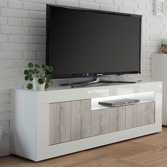 Nitro LED 3 Doors Wooden TV Stand In White Gloss And White Pine