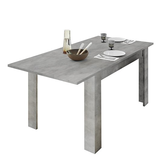 Nitro Extending Wooden Dining Table In Cement Effect