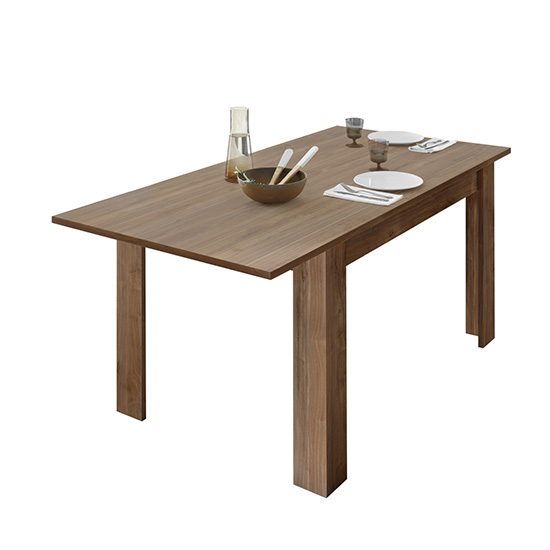 Product photograph showing Nitro Extending Wooden Dining Table In Dark Walnut