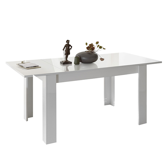Nitro Extending Wooden Dining Table In White High Gloss