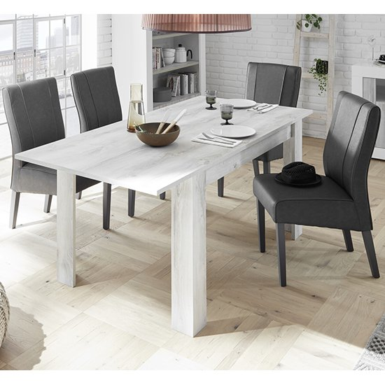 Nitro Extending White Pine Dining Table With 4 Miko Chairs