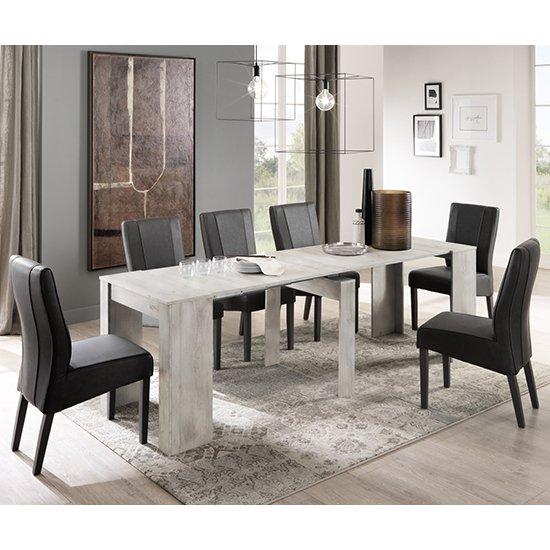 Nitro Extending White Pine Dining Table With 8 Miko Chairs