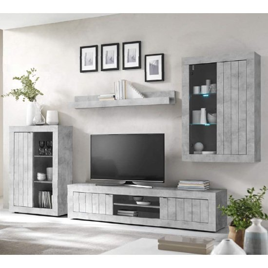 Nitro LED Wooden Living Room Furniture Set In Cement Effect