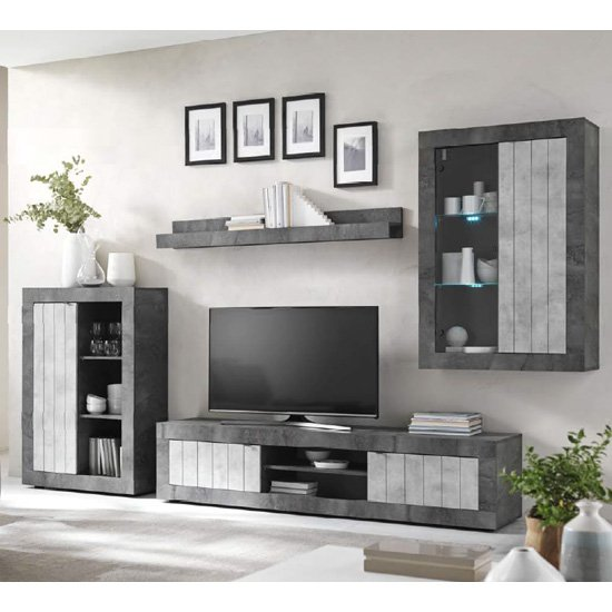 View Nitro led wooden living room set in oxide and cement effect