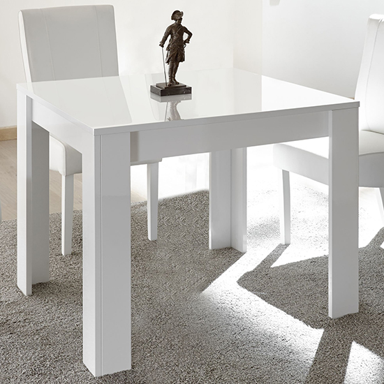 Nitro Square High Gloss Dining Table In White