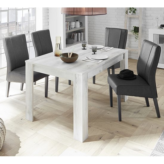 Nitro White Pine Dining Table With 4 Miko Anthracite Chairs_1
