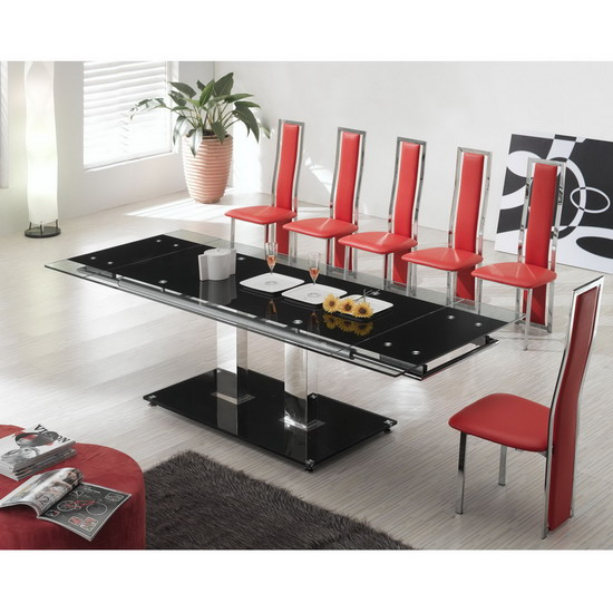 nitro large extending dining table tuxedo red chair - Dining Tables Can Be More Than A Place To Eat