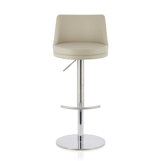 Niven Bar Stool In Beige Faux Leather And Stainless Steel Base