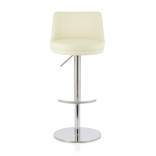 Niven Bar Stool In Cream Faux Leather And Stainless Steel Base