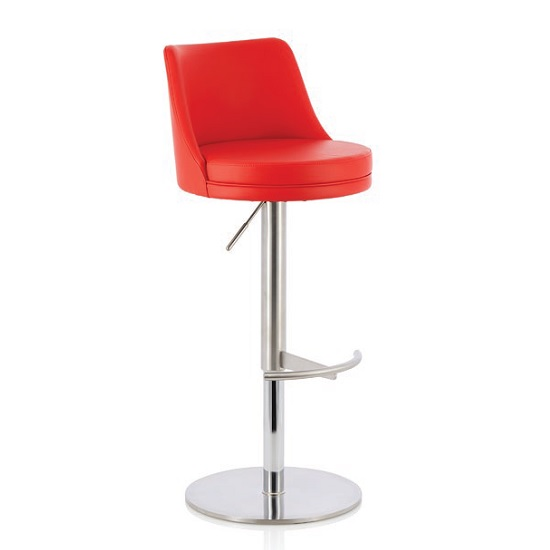 Niven Bar Stool In Red Faux Leather And Stainless Steel Base
