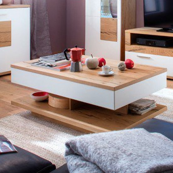 Nizza Wooden Storage Coffee Table In Oak And White