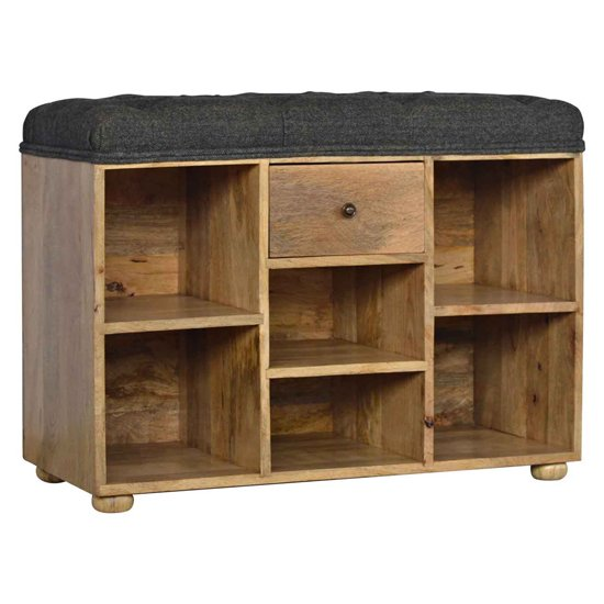 View Noah wooden shoe storage bench with black fabric seat