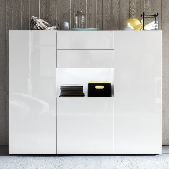 Read more about Leon modern highboard in high gloss white with led lighting