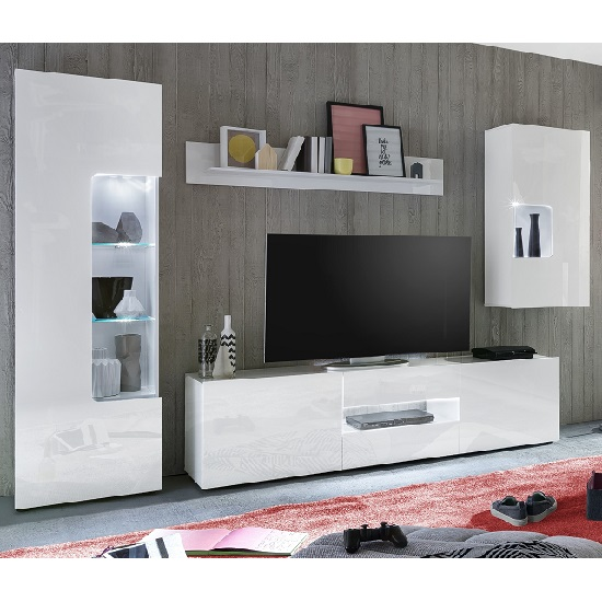 Leon TV Stand In White High Gloss With LED Lighting_3