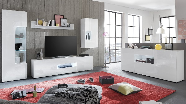 Leon TV Stand In White High Gloss With LED Lighting_4