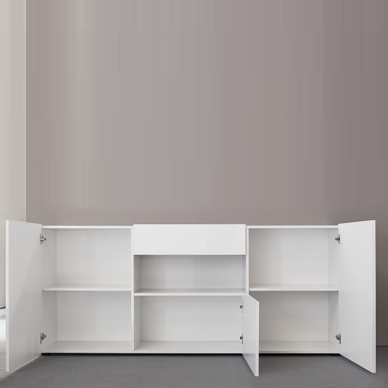 Leon Sideboard In High Gloss White With LED Lighting_2