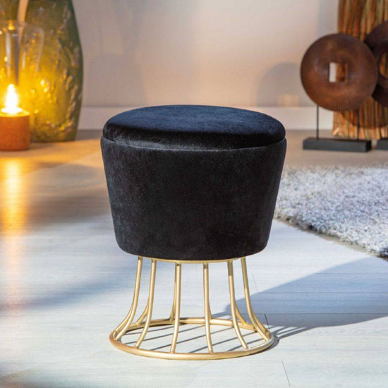 Nobly Fabric Storage Ottoman Stool In Black With Metal Legs