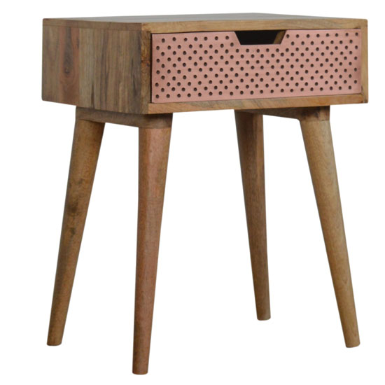 Nobly Wooden Bedside Cabinet In Oak Ish And Copper