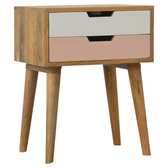 View Nobly wooden bedside cabinet in pink and white