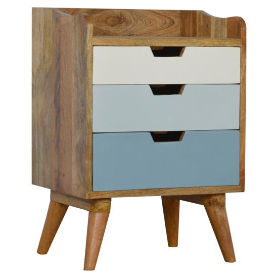 View Nobly wooden gradient bedside cabinet in blue and white