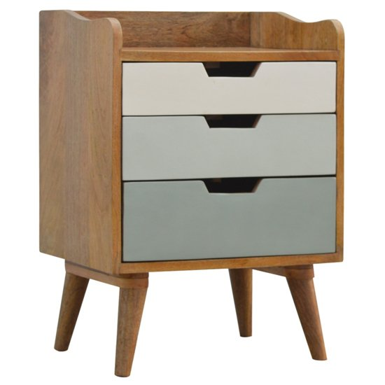 Nobly Wooden Gradient Bedside Cabinet In Green And White