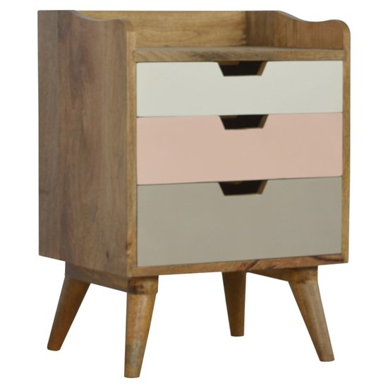 Nobly Wooden Gradient Bedside Cabinet In Pink And White