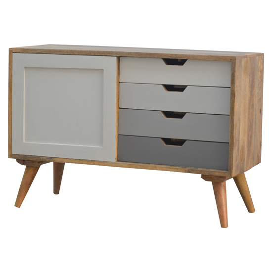 Nobly Wooden Sideboard In Grey And White With 4 Drawers