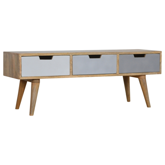 Nobly Wooden TV Stand In Grey And White With 3 Drawers
