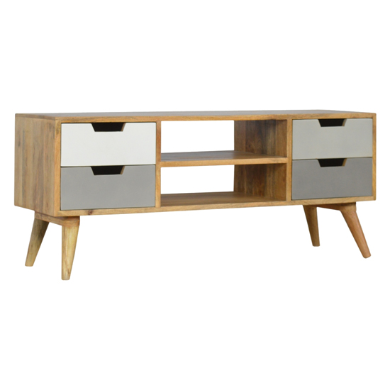 Nobly Wooden TV Stand In Grey And White With 4 Drawers 2 Shelves