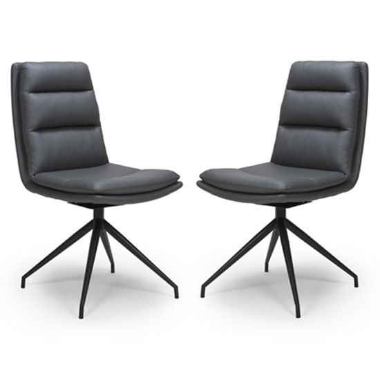 Nobo Grey Faux Leather Dining Chair With Black Legs In Pair_1